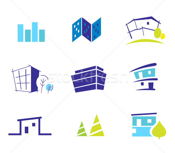Real estate, architecture and nature icons and symbols - blue an Stock photo © lordalea
