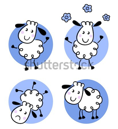 Cute doodle sheep set isolated on white Stock photo © lordalea