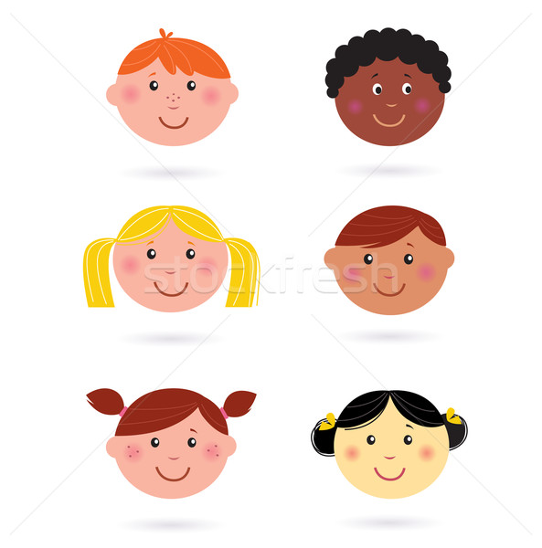 Cute multicultural children heads icons - isolated on white  Stock photo © lordalea