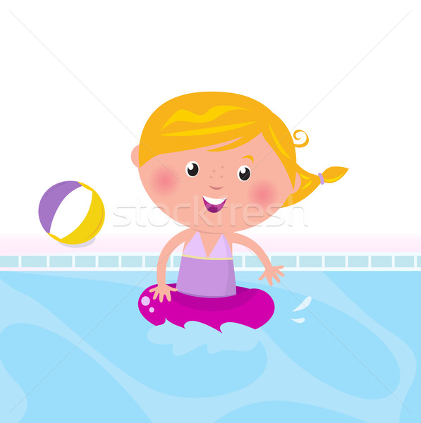 Cute happy girl swimming in water / pool