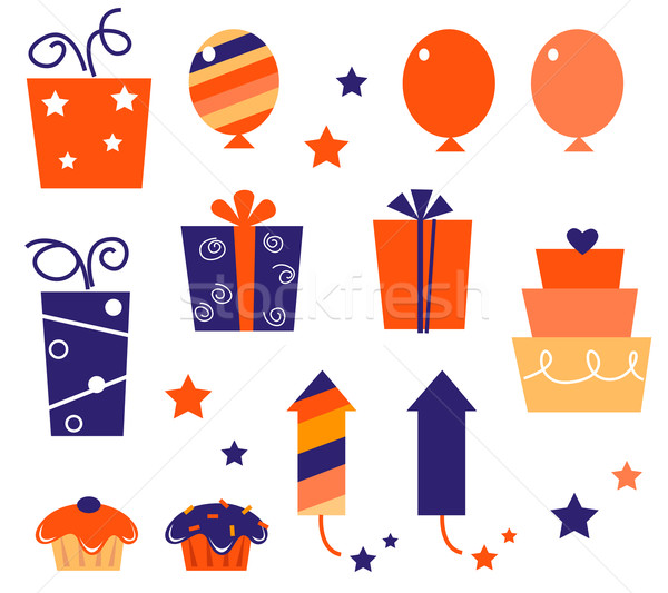 Birthday icons & elements collection isolated on white ( blue, r Stock photo © lordalea