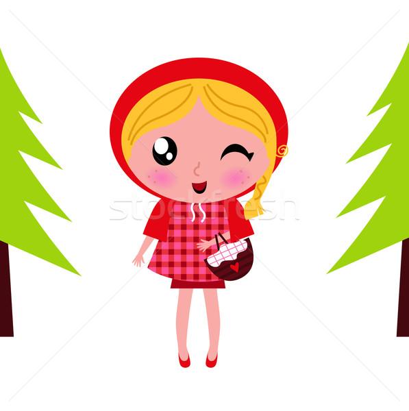 Сток-фото: Cute · мало · красный · верховая · езда · лес · вектора
