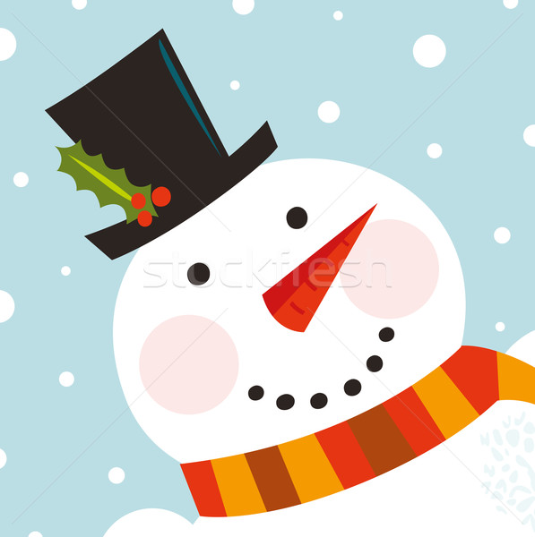 Cute happy Snowman face with snowing background Stock photo © lordalea