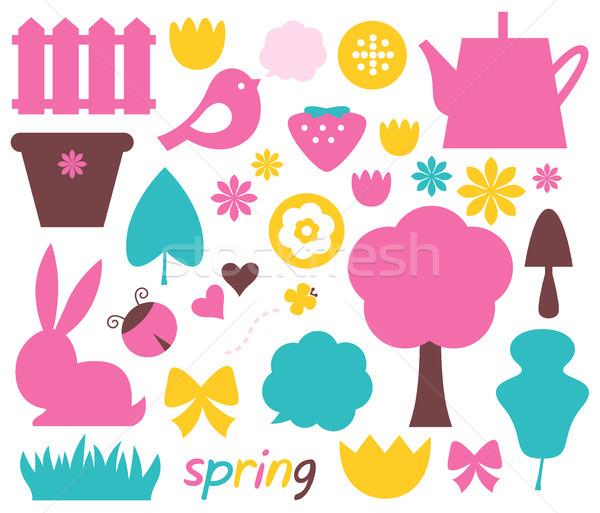 Cute voorjaar Pasen kleurrijk ontwerp communie Stockfoto © lordalea
