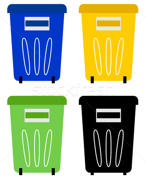 Set of colorful recycle bins isolated on white Stock photo © lordalea