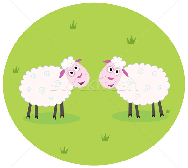 Dos blanco ovejas estilizado verde pradera Foto stock © lordalea