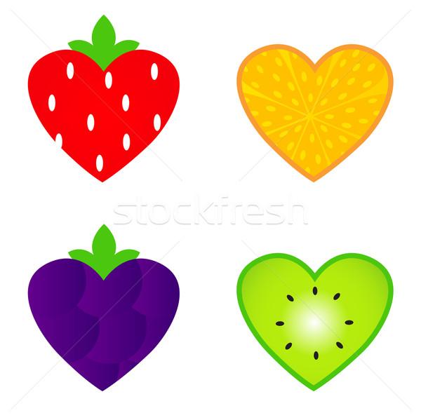 Foto stock: Coração · fruto · coleção · isolado · branco