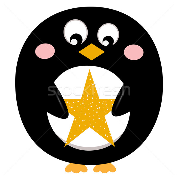 Cute penguin with christmas star Stock photo © lordalea