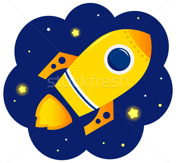 Cartoon stylized Rocket in space with stars Stock photo © lordalea
