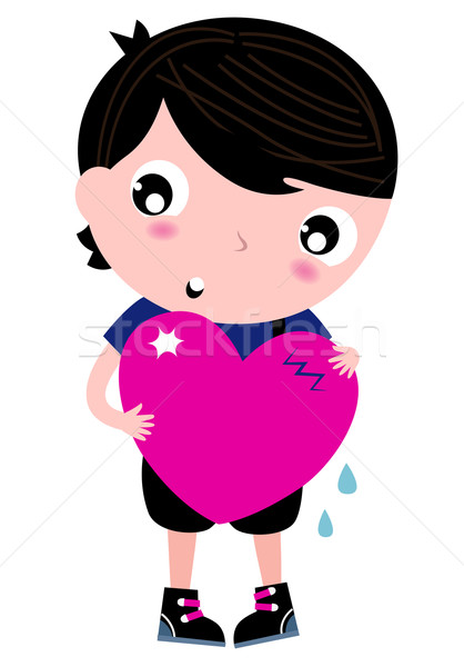 Cute Emo Boy holding heart isolated on white Stock photo © lordalea