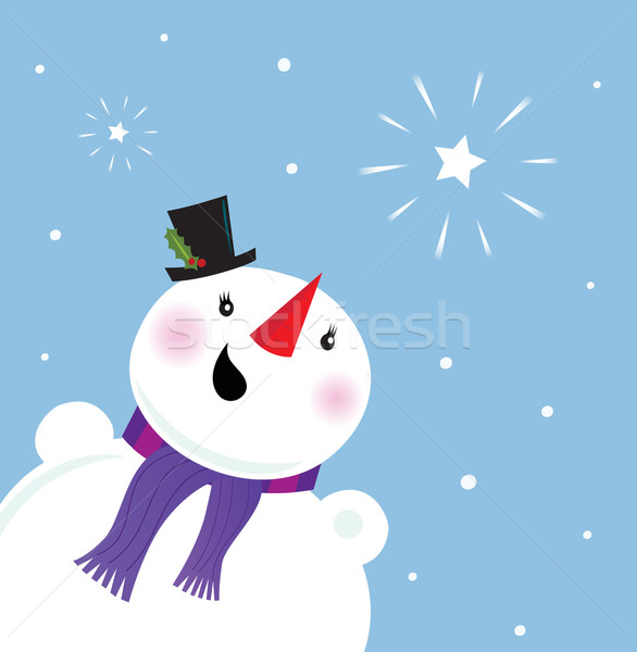 Happy Snowman looking at snow and christmas star Stock photo © lordalea