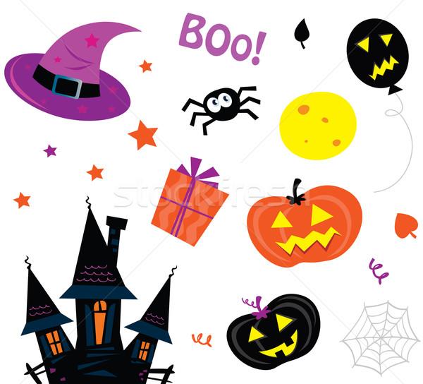 Halloween ikon szett izolált fehér vektor ikonok Stock fotó © lordalea