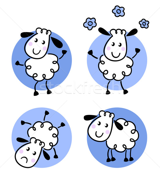 Cute doodle moutons ensemble isolé blanche Photo stock © lordalea
