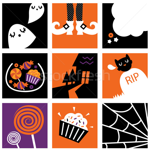 Nove halloween piazza icone raccolta set Foto d'archivio © lordalea