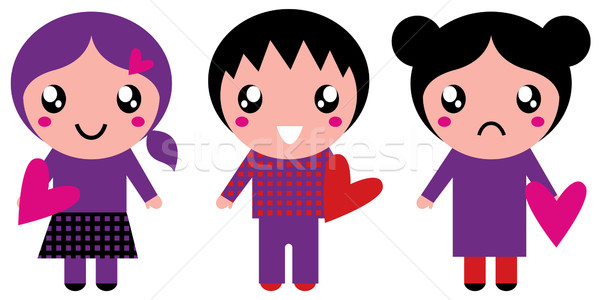 Cute Emo kids holding hearts isolated on white Stock photo © lordalea