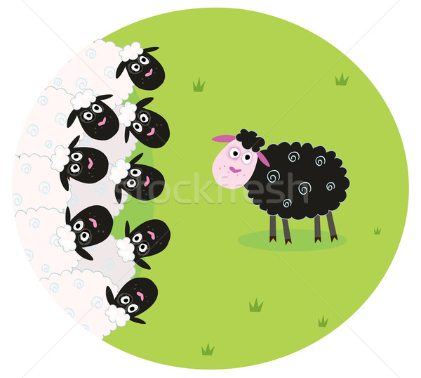 One Black Sheep  Stock photo © lordalea