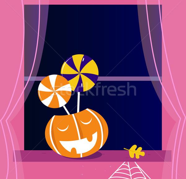 Pumpkin head or Jacks o' lantern, Candy, Window Stock photo © lordalea