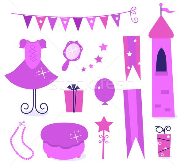 Foto stock: Cute · iconos · pequeño · princesa · fiesta · aislado