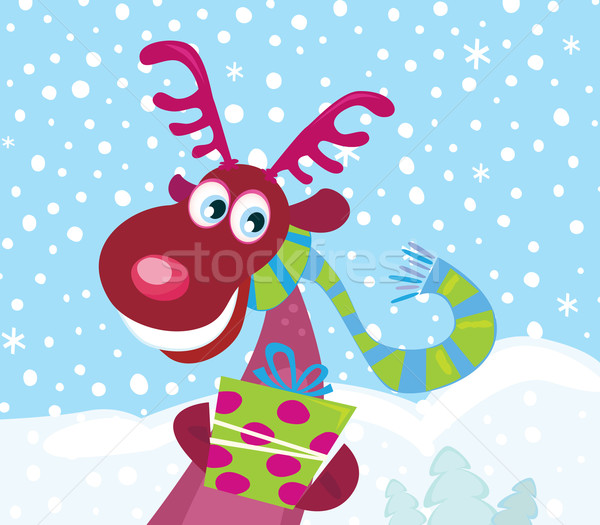 Red-nosed Rudolph On Snow  Stock photo © lordalea