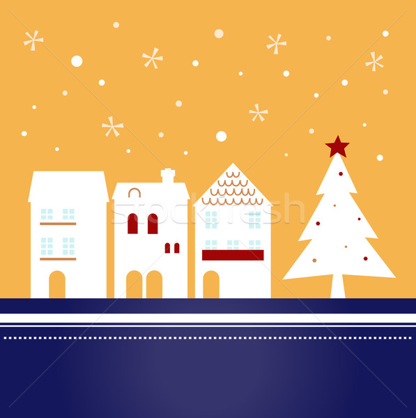 Xmas town on snowing background ( vector ) Stock photo © lordalea