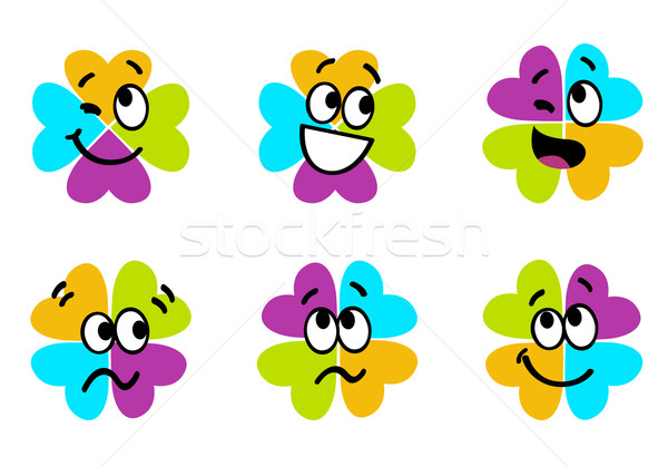 Bonitinho colorido quatro folha trevo coleção Foto stock © lordalea