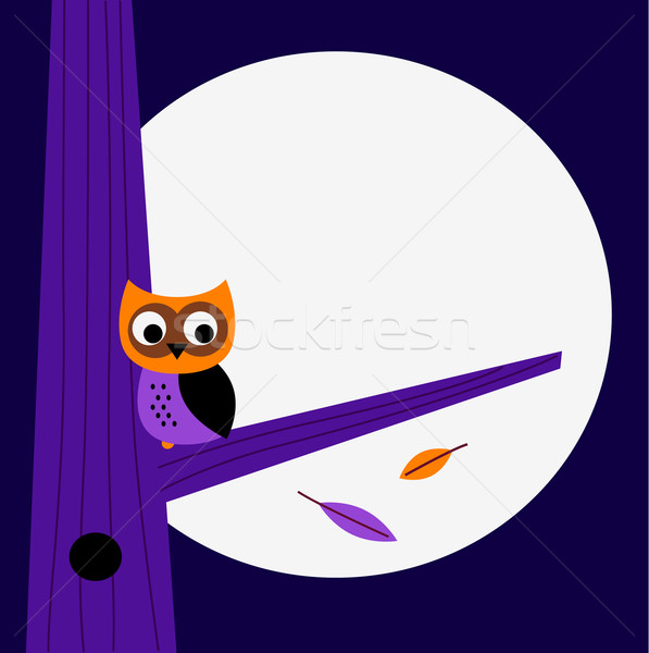 Halloween night Owl template with copy space Stock photo © lordalea