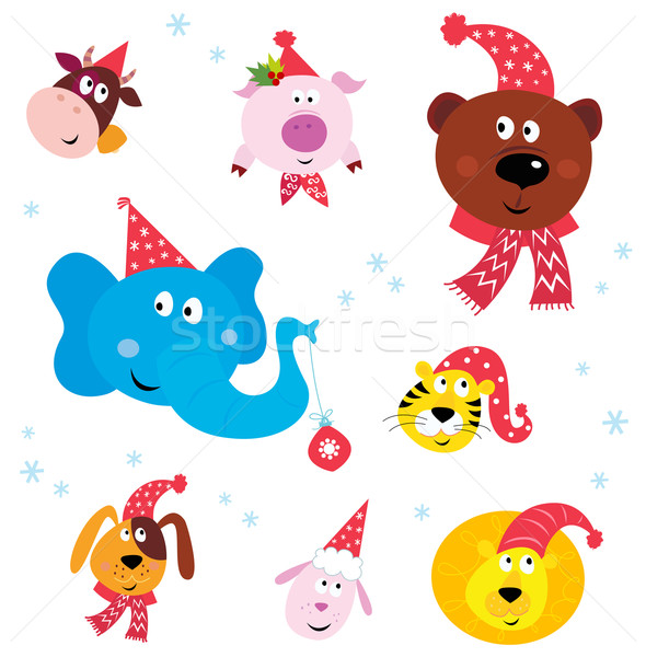Christmas Party Animals with Santa hats Stock photo © lordalea