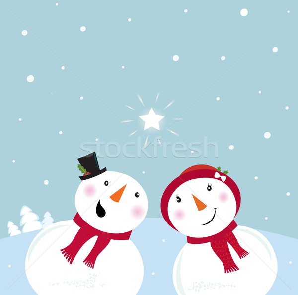 Valentine´s Day: Snowman & Snow - woman. Snowy couple in love Stock photo © lordalea