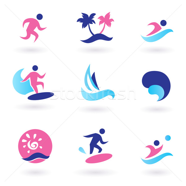 Water sport, vacation and exotic icons - pink and blue