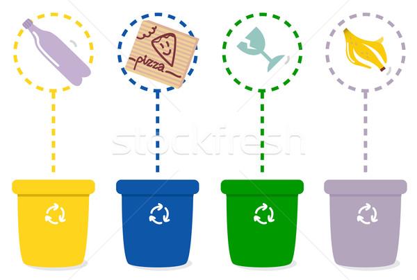 Renkli geri dönüşüm yalıtılmış beyaz ayrı çöp Stok fotoğraf © lordalea