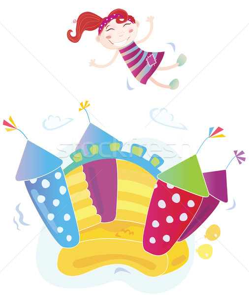 Vector Illustration Of A Bouncy Castle With Girl Jumping on it Stock photo © lordalea