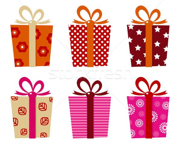 Retro hediyeler ayarlamak yalıtılmış beyaz hediye kutuları Stok fotoğraf © lordalea