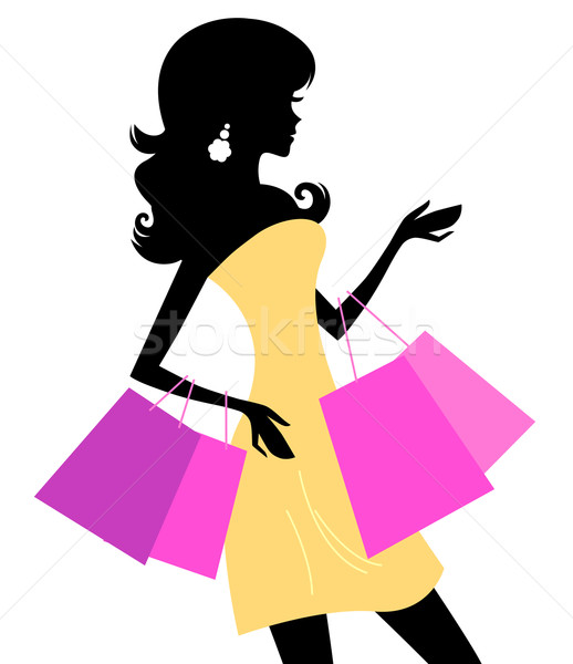 Shopping retro girl isolated on white Stock photo © lordalea