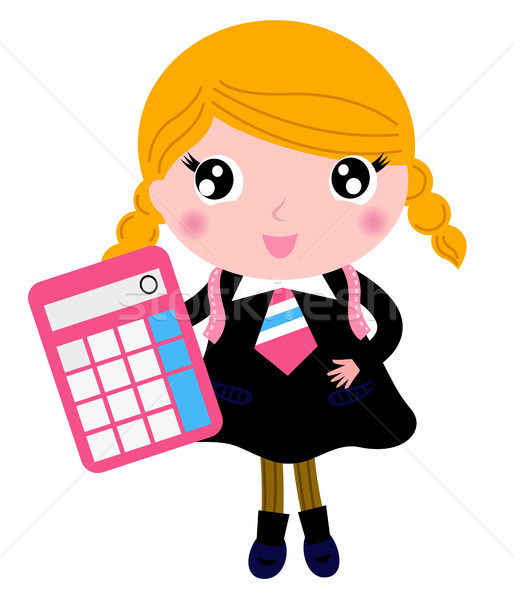 Beautiful blond school girl with calculator isolated on white Stock photo © lordalea