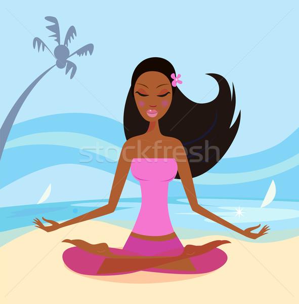 Fille yoga Lotus poste plage beauté Photo stock © lordalea