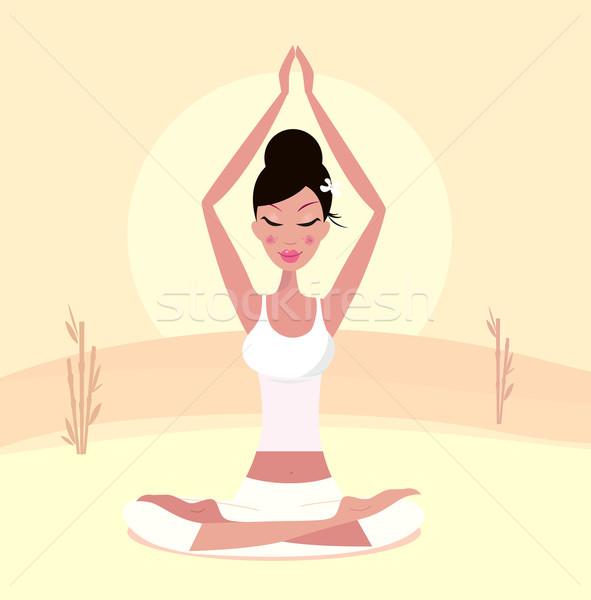 Stock photo: Sunset yoga : relaxing retro woman doing lotus flower yoga asana