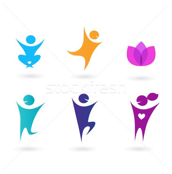 коллекция человека иконки йога спорт набор Сток-фото © lordalea
