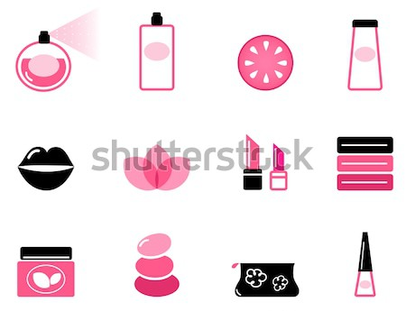 Beauty, cosmetic and makeup icons isolated on white Stock photo © lordalea
