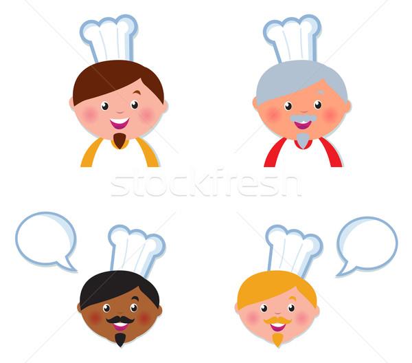 Cute chef icone raccolta isolato bianco Foto d'archivio © lordalea