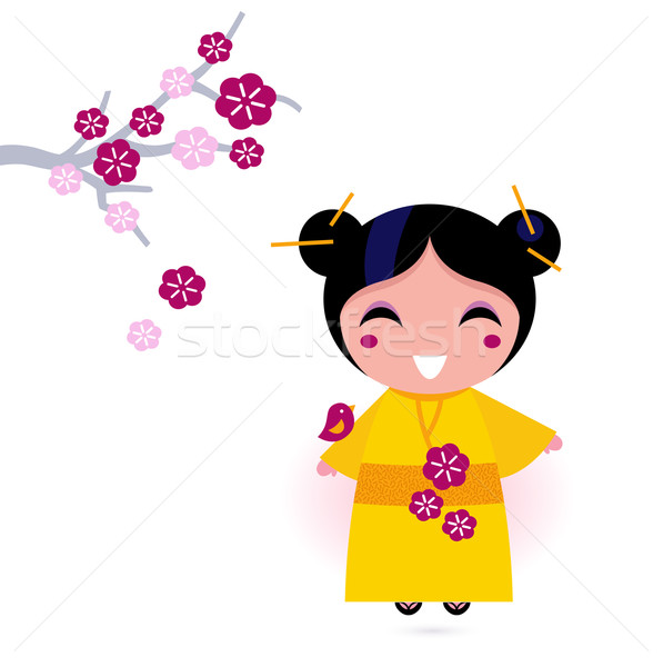 Asia girl in yellow kimono isolated on white Stock photo © lordalea