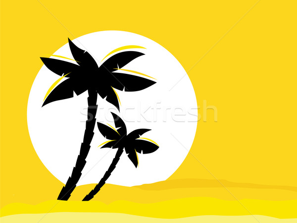 Amarelo deserto nascer do sol preto palma palmeira Foto stock © lordalea