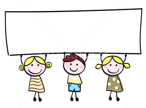 Cute болван детей баннер знак Сток-фото © lordalea
