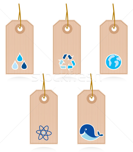 Stock photo: Collection of vector blank recycle and water labels isolated on