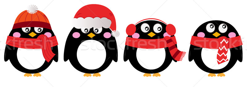 Foto stock: Cute · pingüino · establecer · aislado · blanco · Cartoon