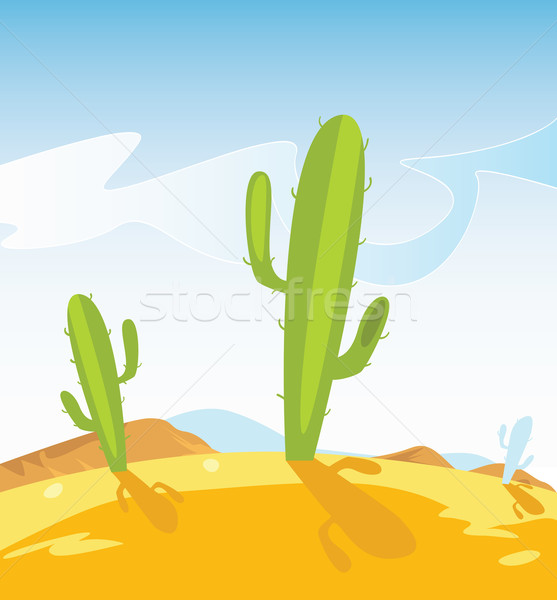 Western Desert With Cactus Plants Stock photo © lordalea