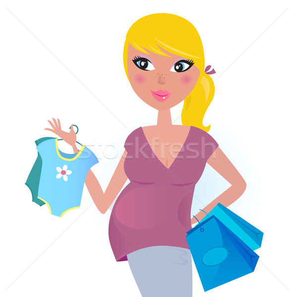 Foto stock: Feliz · grávida · mãe · compras · bebê · menino