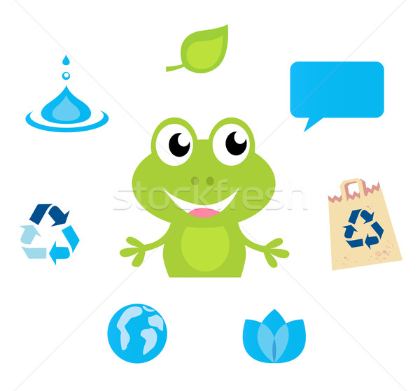 Cute green Frog character, Ecology, Nature and Water icons and s Stock photo © lordalea