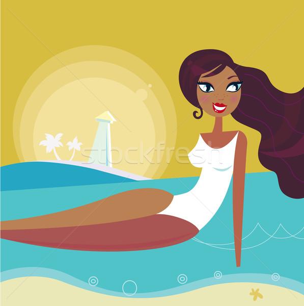 Sunset, sea and summer woman sun tanning on the beach - Retro Stock photo © lordalea