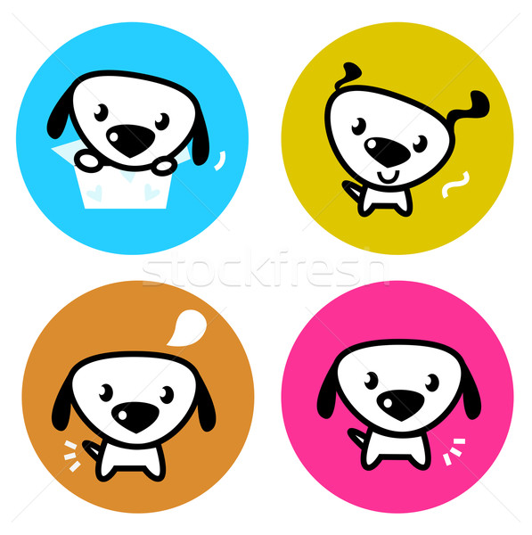 Cute dog colorful buttons isolated on white Stock photo © lordalea