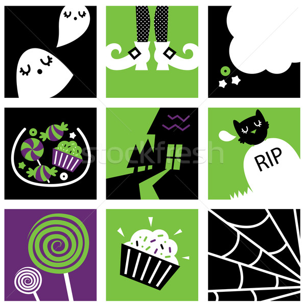 Nine halloween square icons collection Stock photo © lordalea